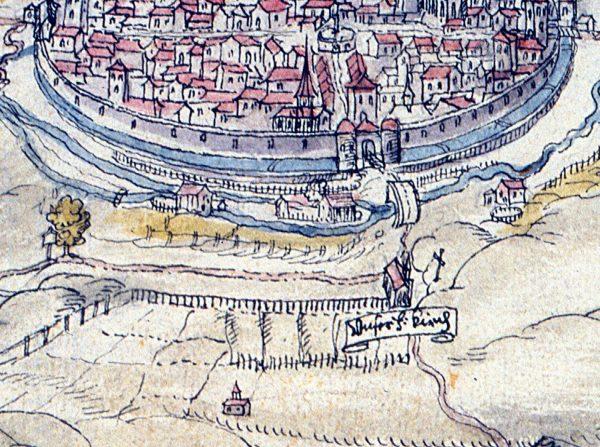 Schützenhaus auf der Pürschgerichtskarte von 1607